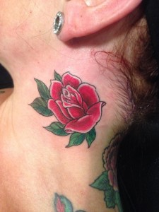Neck Tattoo By Sieto , Rose